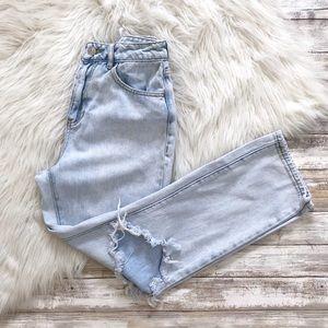 Pacsun Light Wash Distressed High Waist Mom Jeans